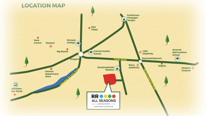 1 BHK apartment & 3 BHK villas for sale location map of RR All Seasons