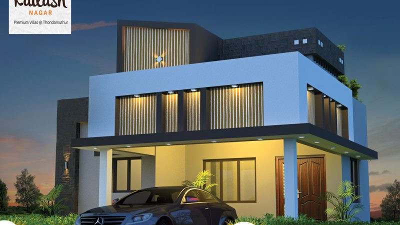 Elevation of a farm land villa at RR Kailash Nagar