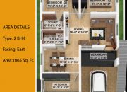 Floor Plan of 2 BHK East facing farm land villa at RR Kailash Nagar
