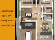 Floor Plan of 2 BHK North facing type 1 farm land villa at RR Kailash Nagar