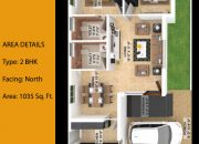 Floor Plan of 2 BHK North facing type 2 farm land villa at RR Kailash Nagar