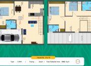 Floor Plan 3 BHK South facing of RR Dhurya Villas